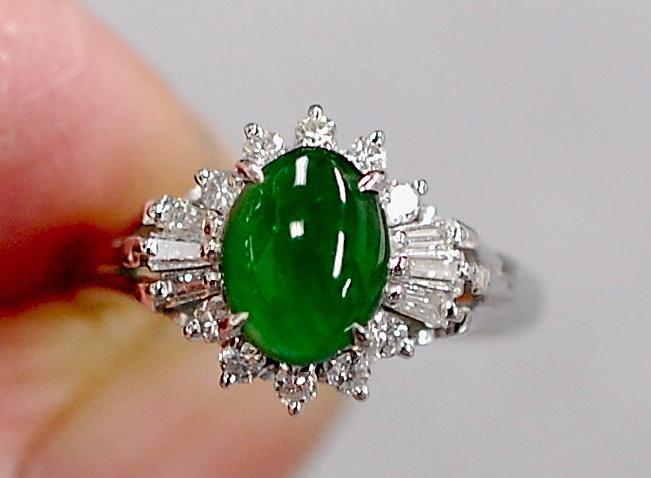 ¥100~とても綺麗!濃厚で華やかグリーン!本翡翠1.00D0.31pt900 5グラムリング_画像3