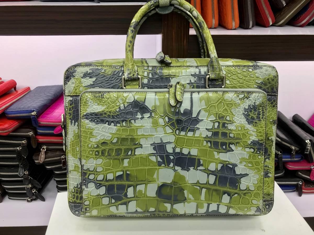 【在庫なし ラスト】クロコダイルレザー本物ブリーフケース ワニ革かばんセンター取り腹革 メンズ ビジネス 総本革ハンドバッグA4書類鞄