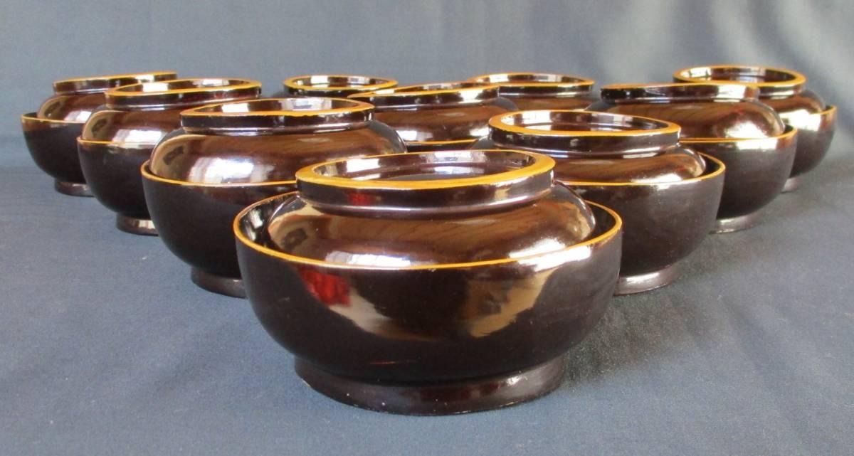 蔵の中からひょっこりと!● 蓋付菓子碗 煮物椀 吸物碗 10客揃 木箱入り *実物は画像よりも黒色に近いです。ご活用下さい。_画像2