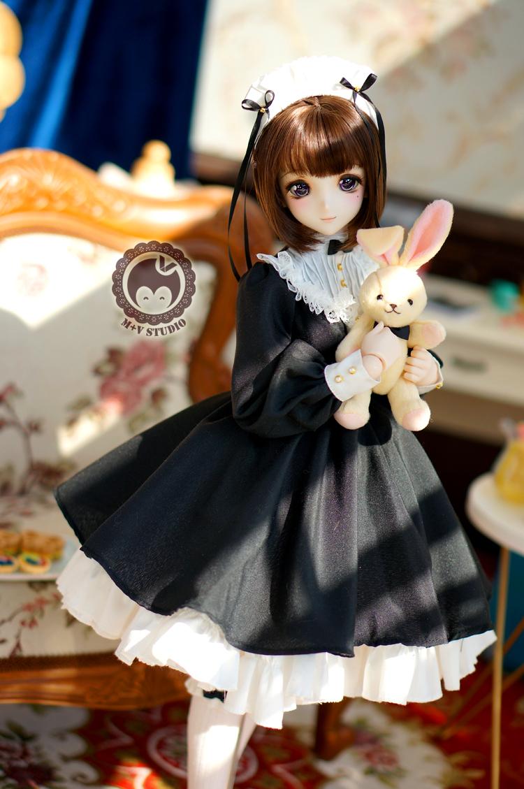 DDS (S/M胸)、DD (S/M胸)可愛いリボンメイド服5点セット★ブラック_画像4