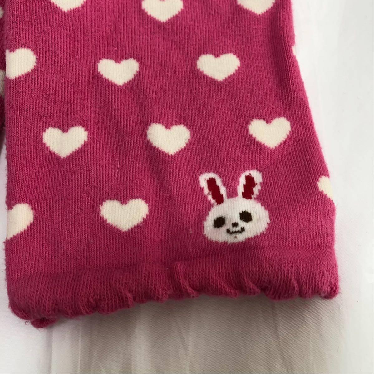 ミキハウス MIKIHOUSE レギンス 100 女の子 ピンク 送料140円 うさこ ハート ズボン パンツ スパッツ かわいい ベビー キッズ 子供服_画像2