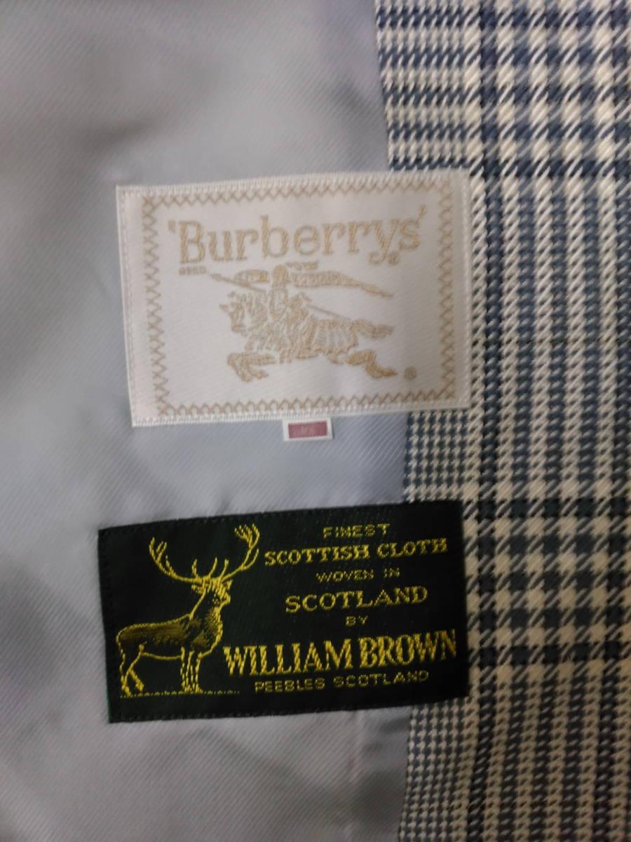 本物・中古品 バーバリー レディース用 スーツ 大きいサイズ 約LL寸 サックスグレーのチェック柄 ウール&シルク素材_画像6