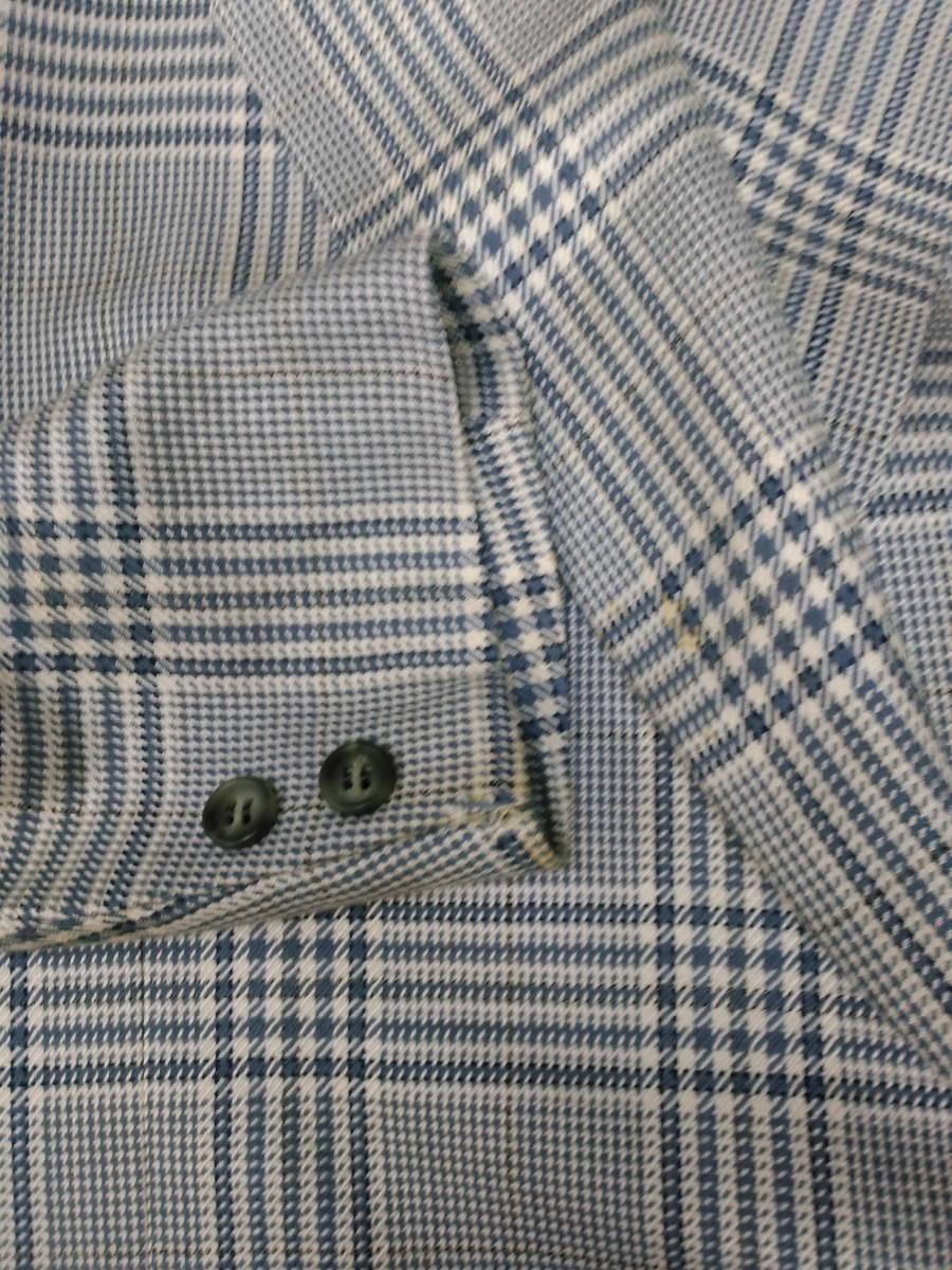 本物・中古品 バーバリー レディース用 スーツ 大きいサイズ 約LL寸 サックスグレーのチェック柄 ウール&シルク素材_画像4