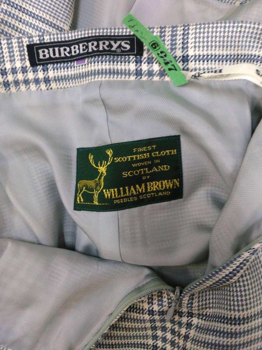 本物・中古品 バーバリー レディース用 スーツ 大きいサイズ 約LL寸 サックスグレーのチェック柄 ウール&シルク素材_画像7