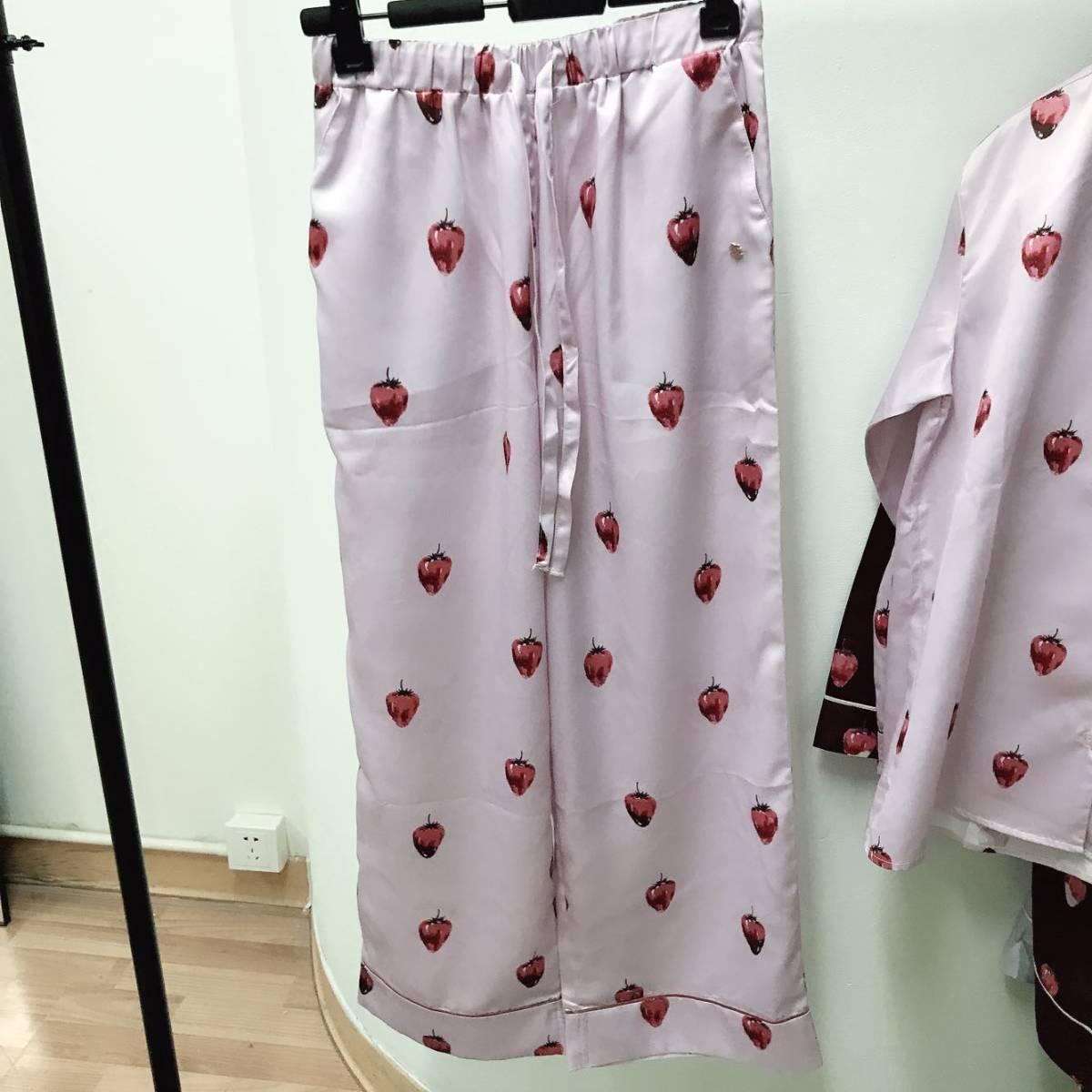 新品★ジェラートピケ ストロベリーチョコサテン●パジャマ上下セット■ピンク●ルームウエア●_画像3