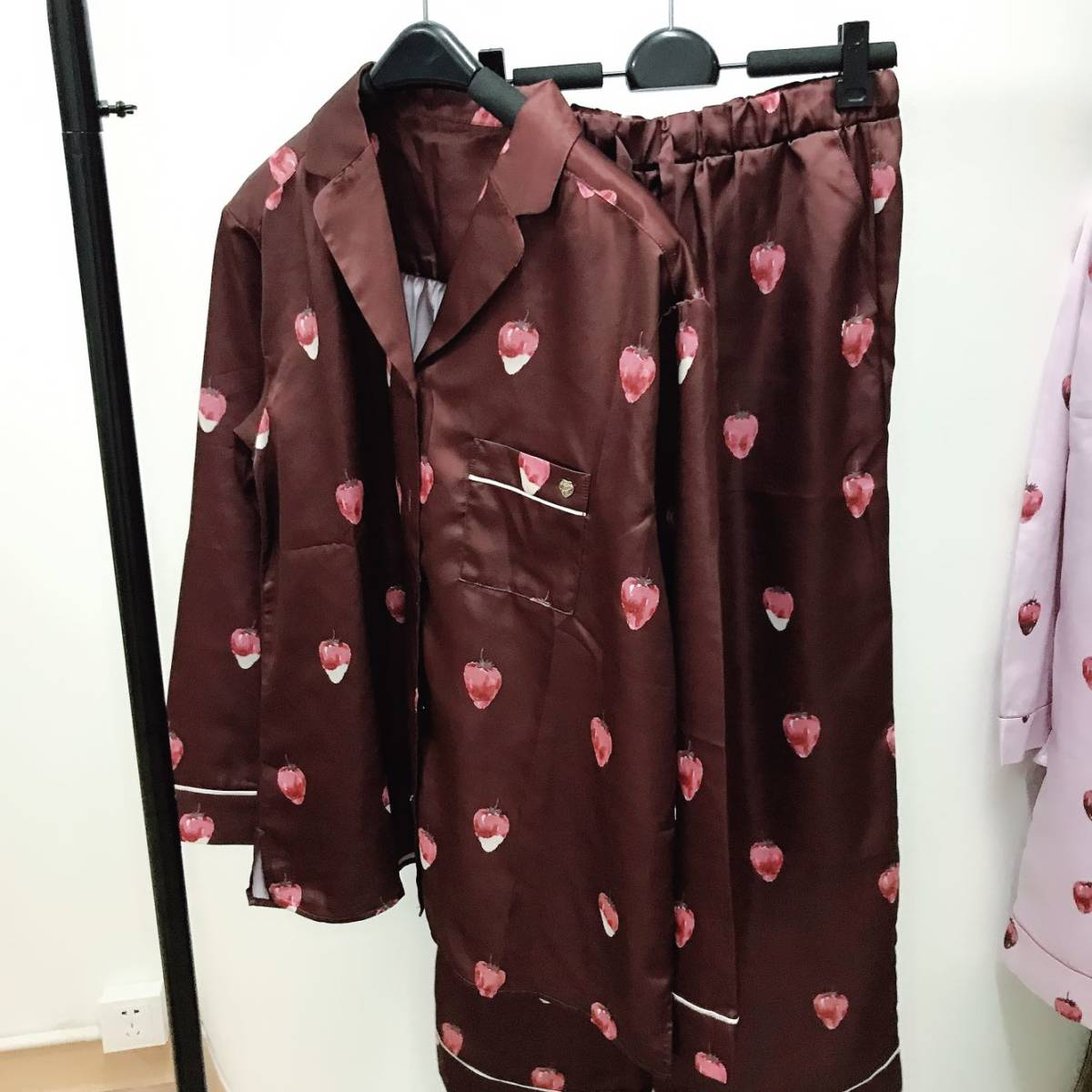 新品★ジェラートピケ ストロベリーチョコサテン●パジャマ上下セット■ブラウン●ルームウエア●