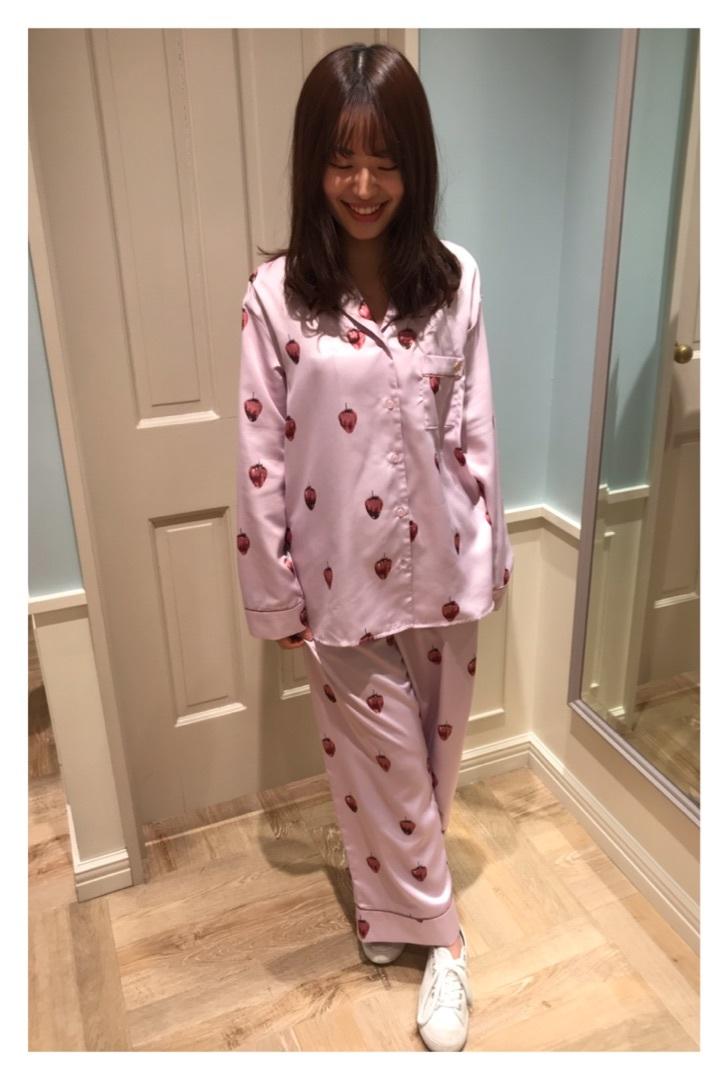 新品★ジェラートピケ ストロベリーチョコサテン●パジャマ上下セット■ピンク●ルームウエア●
