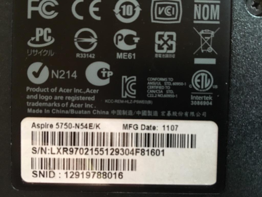 「美品」超速SSHD使用 Acer Aspire 5750-N54E/K Corei5-2410M/8GB/SSHD(1TB)1000GB/DVDマルチ Windows10 Office2013 _画像8