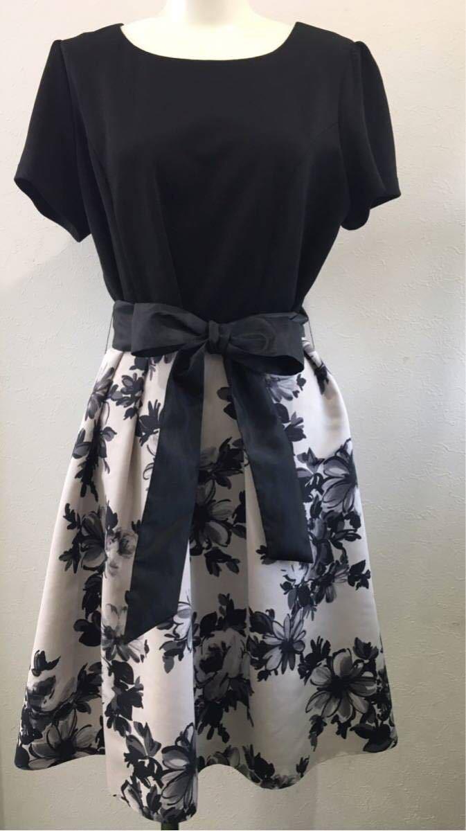 美品 Rose Tiara  ワンピース 51015-507A  ブラック 花柄  サイズ  42  LL  大きいサイズ 結婚式 パーティードレス フォーマル_画像1