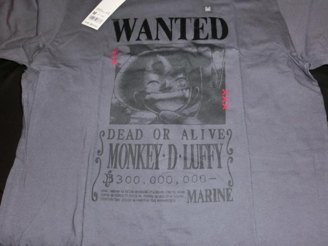 ONE PIECE ユニクロ×ワンピース コラボTシャツ サイズM UT 半袖 未使用品 タグ付き ルフィ手配書柄_画像2