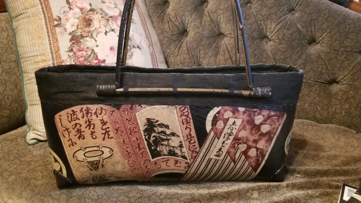 【作家もの】漆デコパージュかごバック松枝忍氏作品 和本柄 大型 新品_画像2