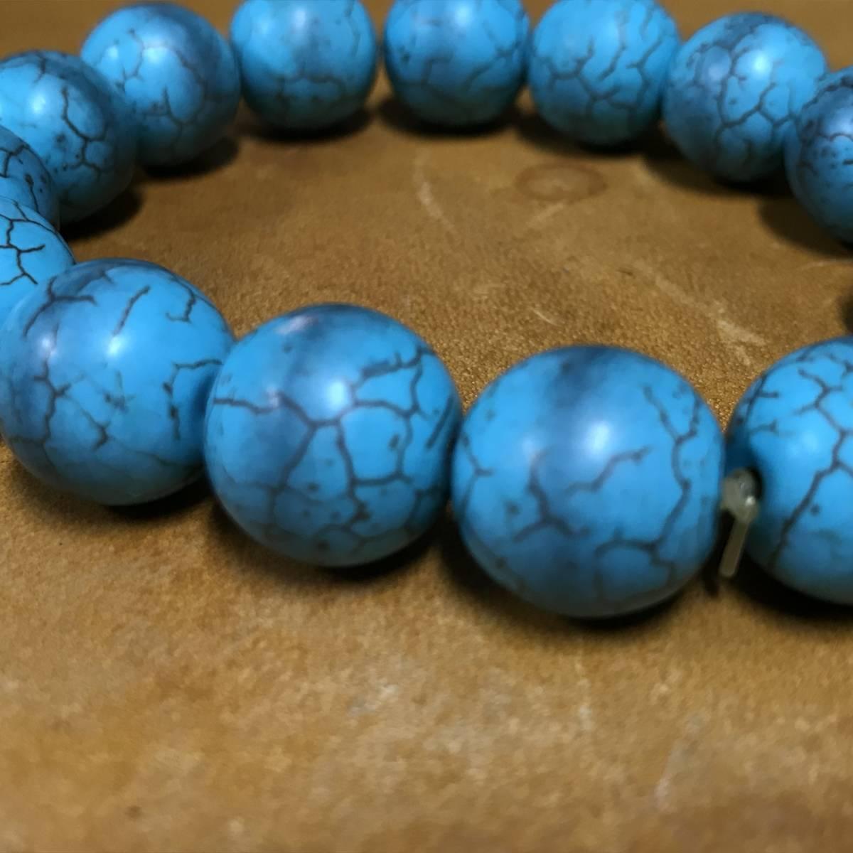ブレスレット ターコイズ トルコ石 タイプ パワーストーン 数珠_画像2