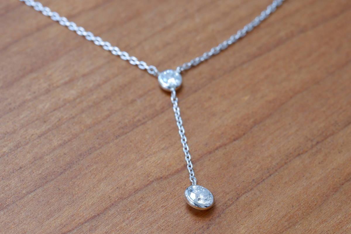 Pt900 ヴァンドーム青山 ダイヤモンド 0.28ct ネックレス Pt850 ペンダント プラチナ Y字