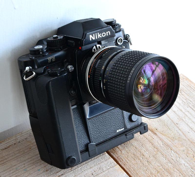 ニコン Nikon F3 フィルムカメラ + モータードライブ MD-4 + AH-3 + Nikkor 28-85mm f3.5-4.5