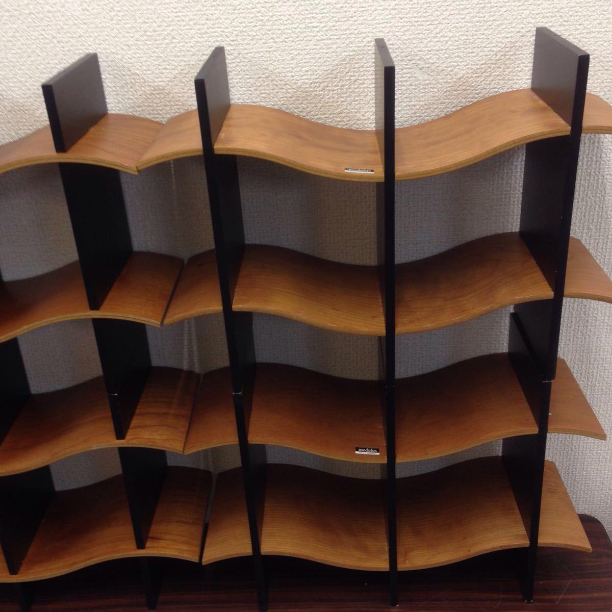 エ-003 モデュラス(modulus) インテリアラック オブジェ 収納ラック CDラック 木製 100サイズ_画像3