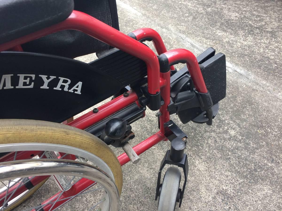 中古 MEYRA/マイラ 折り畳み式車椅子 耐荷重120kg ユーロチェアヘミ レッドカラー 自走式/ブレーキ付き 介護 介助 車イス 激安スタ!!_画像8