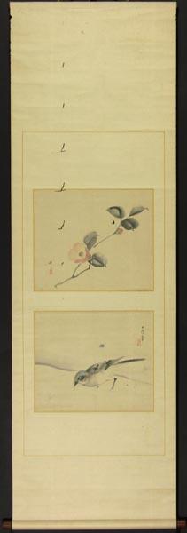 【模写】 掛軸 松村景文 合作 「花鳥画」 紙本 合箱_画像1