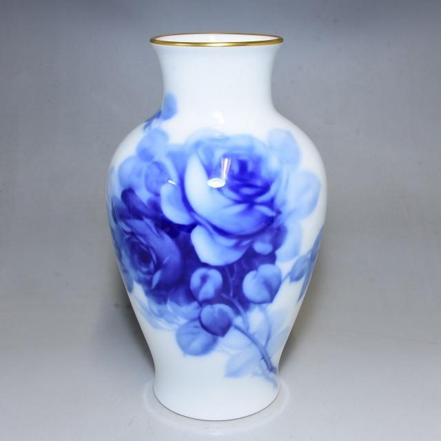 【GMS】大倉陶園 ブルーローズ花瓶 OKURA JAPANオールドオークラ(検索:中国唐物茶壷銀瓶急須煎茶碗人間国宝)100