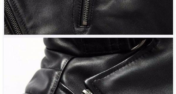 シープスキン アウトロースタイル ライダース レザージャケット ブラック Lサイズ(38) シングル ダブル イタリアンレザー ラム 羊革_画像7