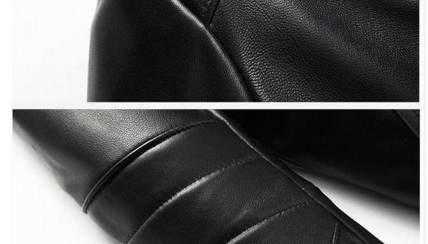 シープスキン アウトロースタイル ライダース レザージャケット ブラック Lサイズ(38) シングル ダブル イタリアンレザー ラム 羊革_画像9