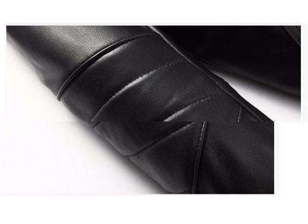 シープスキン アウトロースタイル ライダース レザージャケット ブラック Lサイズ(38) シングル ダブル イタリアンレザー ラム 羊革_画像6