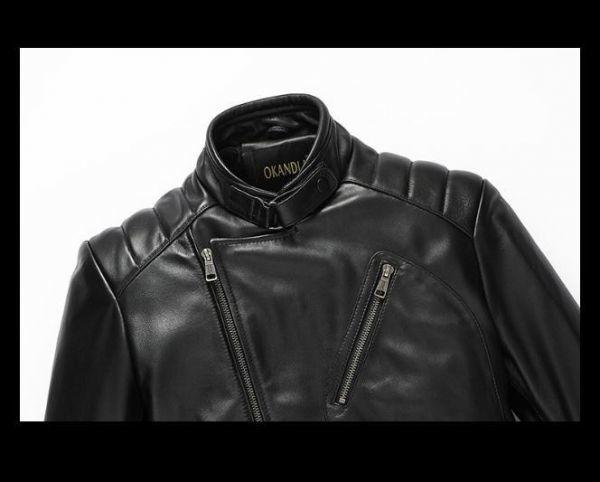 シープスキン アウトロースタイル ライダース レザージャケット ブラック Lサイズ(38) シングル ダブル イタリアンレザー ラム 羊革_画像4