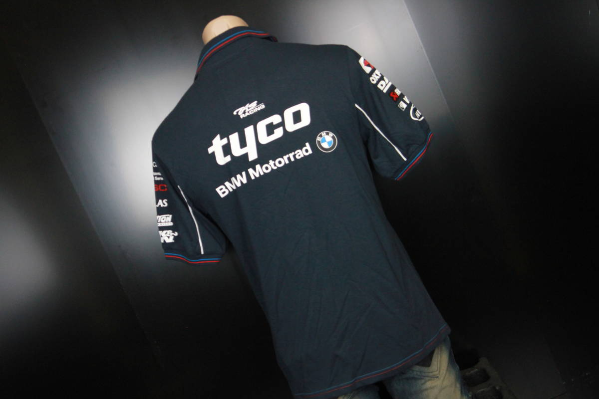 正規品!【TYCO BMW】 SuperBike 青赤ライン オフィシャル ポロシャツ 【M】 本物(検 motoGP Super Bike TT BSB 【BMW Motorrad】)_画像2