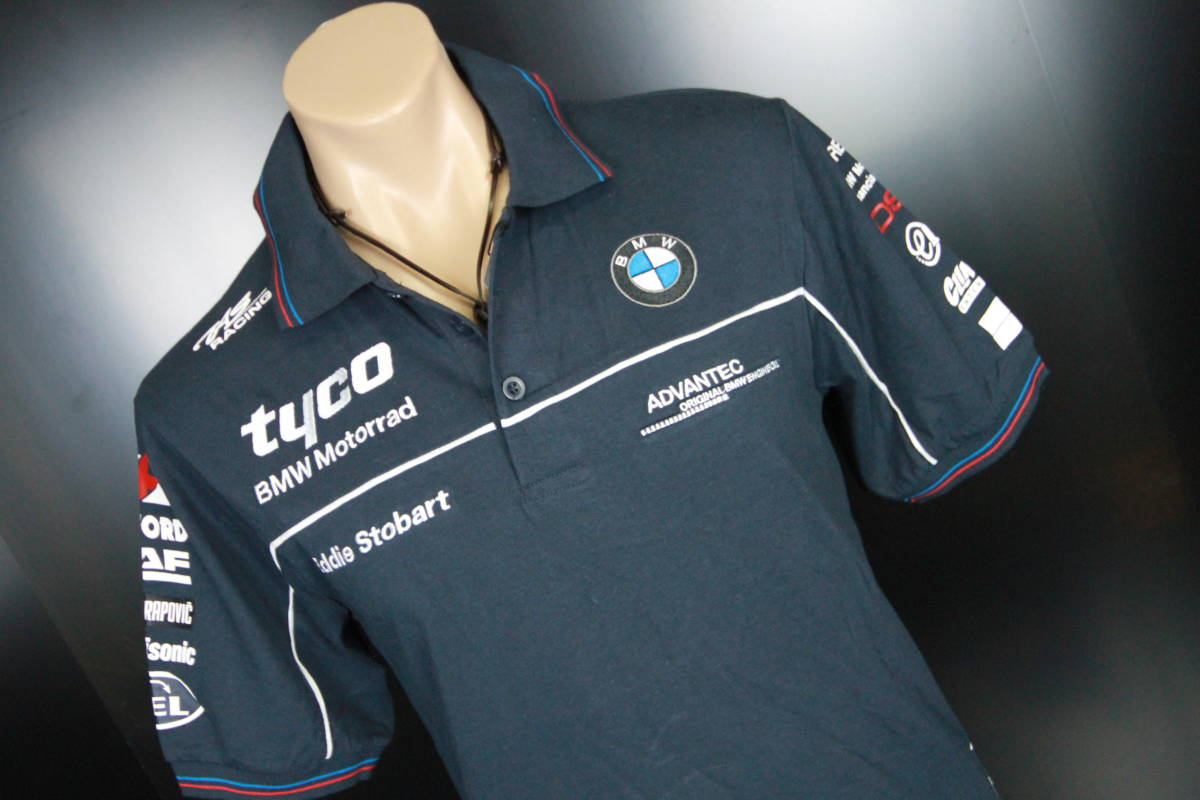 正規品!【TYCO BMW】 SuperBike 青赤ライン オフィシャル ポロシャツ 【M】 本物(検 motoGP Super Bike TT BSB 【BMW Motorrad】)_画像3