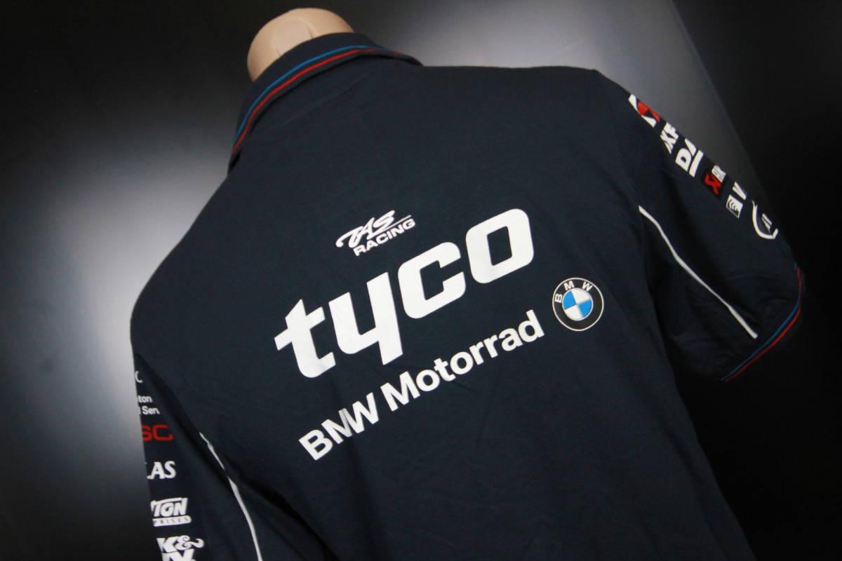 正規品!【TYCO BMW】 SuperBike 青赤ライン オフィシャル ポロシャツ 【M】 本物(検 motoGP Super Bike TT BSB 【BMW Motorrad】)_画像4