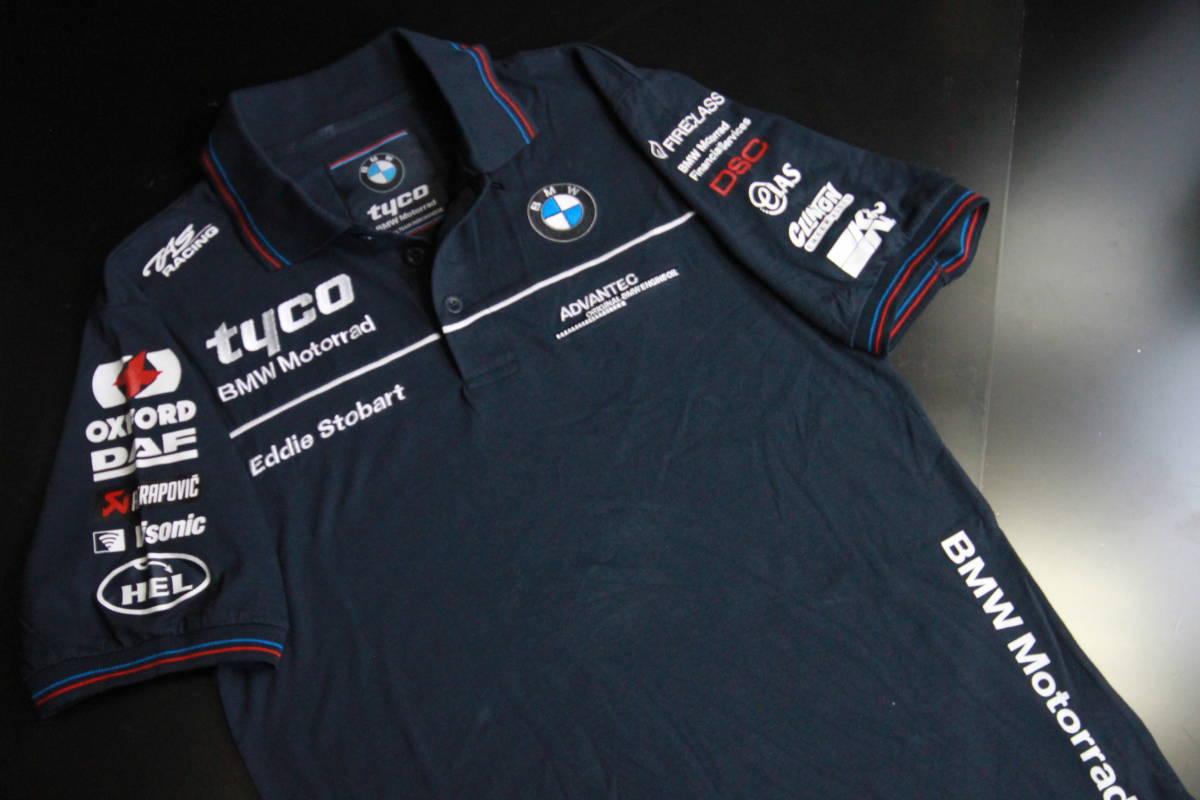 正規品!【TYCO BMW】 SuperBike 青赤ライン オフィシャル ポロシャツ 【M】 本物(検 motoGP Super Bike TT BSB 【BMW Motorrad】)_画像6