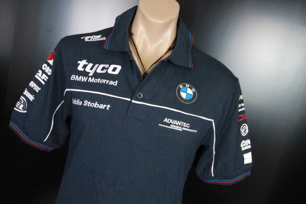 正規品!【TYCO BMW】 SuperBike 青赤ライン オフィシャル ポロシャツ 【M】 本物(検 motoGP Super Bike TT BSB 【BMW Motorrad】)_画像8