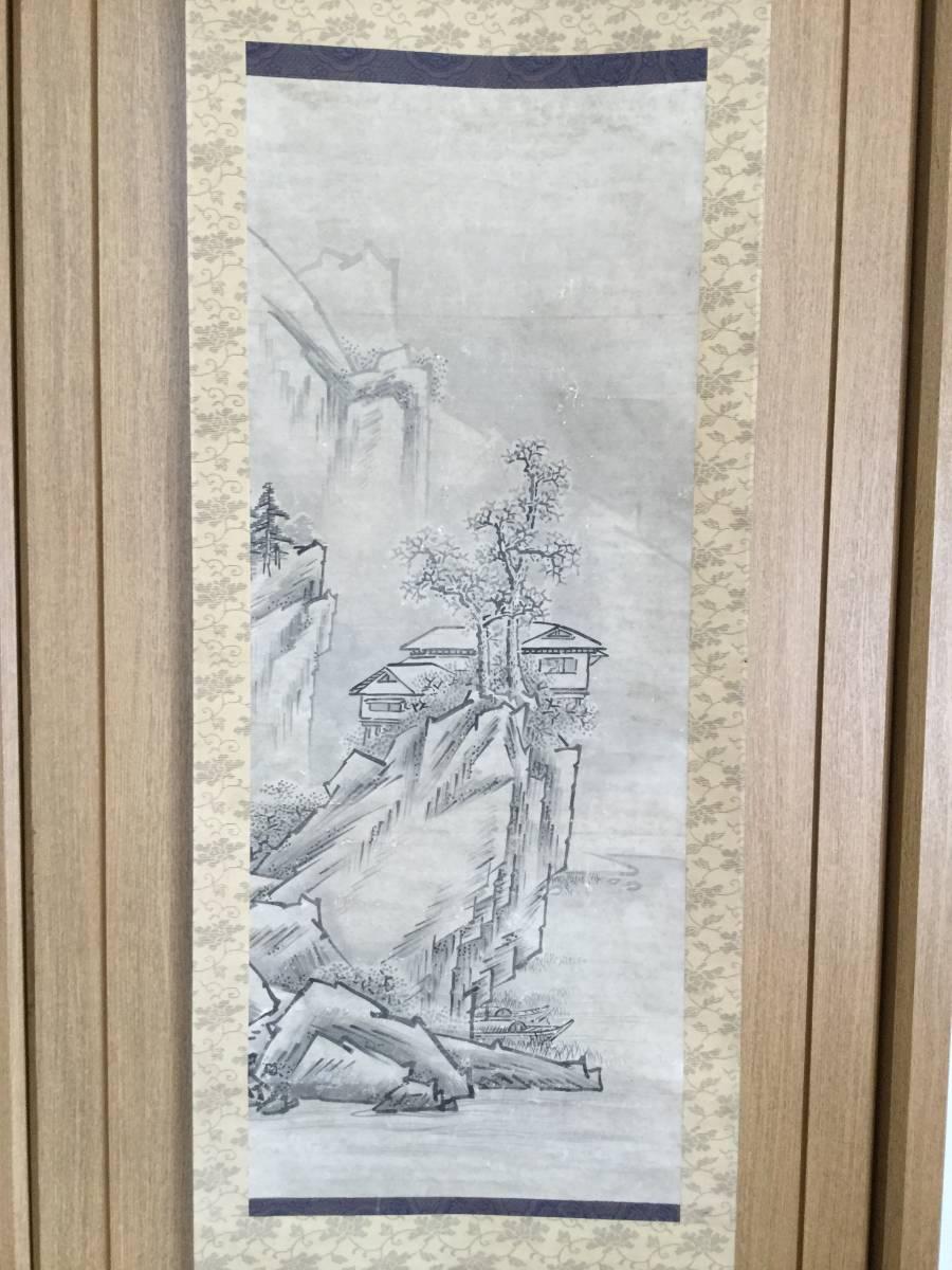 【 模写 】 雪舟等楊 水墨山水図《 洞庭胡 》 紙本肉筆 軸先良品 保存二重箱_画像2