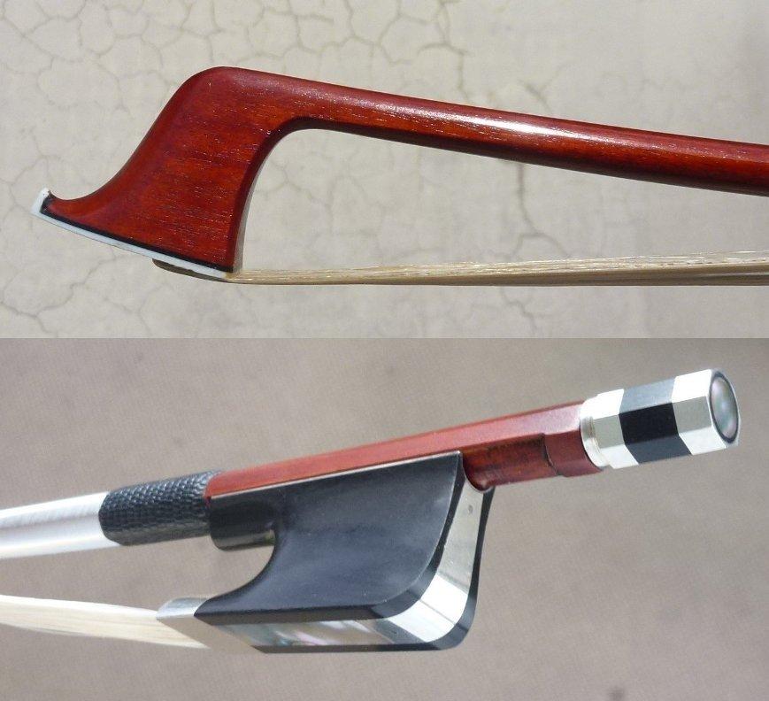 最落なし●サルトリーモデルチェロ弓●ヴィームフロッグ●E.Sartory Copy Pro Master Pernambuco Cello Bow No eye Frog Silver Parts_画像5