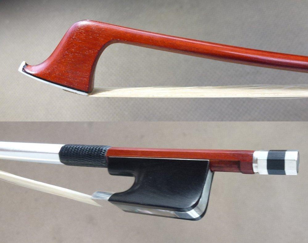最落なし●サルトリーモデルチェロ弓●ヴィームフロッグ●E.Sartory Copy Pro Master Pernambuco Cello Bow No eye Frog Silver Parts