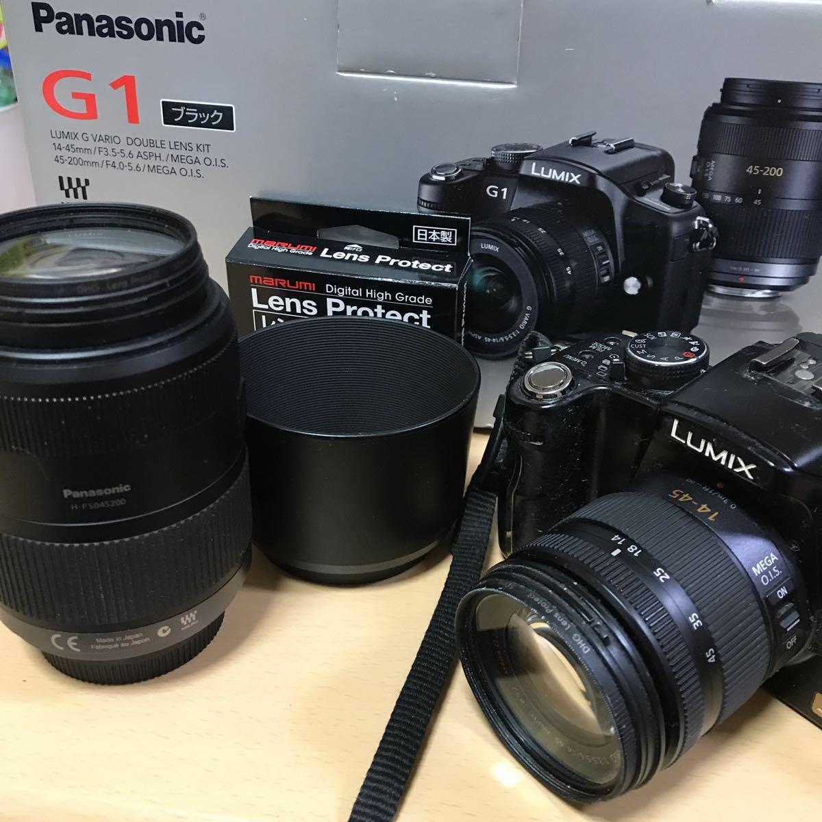 訳あり Panasonic パナソニック LUMIX G1 ダブルズームレンズキット DMC-G1W-K カメラ ミラーレス一眼 コンフォートブラック K3707718