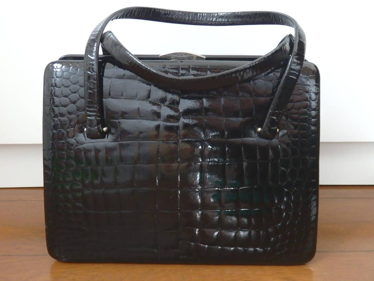 5d000b937f99 代購代標第一品牌- 樂淘letao - クロコ調ハンドバッグ和装着物バッグフォーマルバッグがま口ブラック黒中古