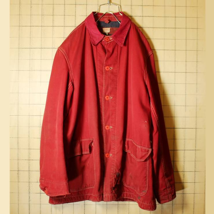 50s-60s USA製 HERCULES レッド カバーオール ワークジャケット メンズXL相当 ヘラクレス sears ブランケットライナー 古着 ハンティング_画像1