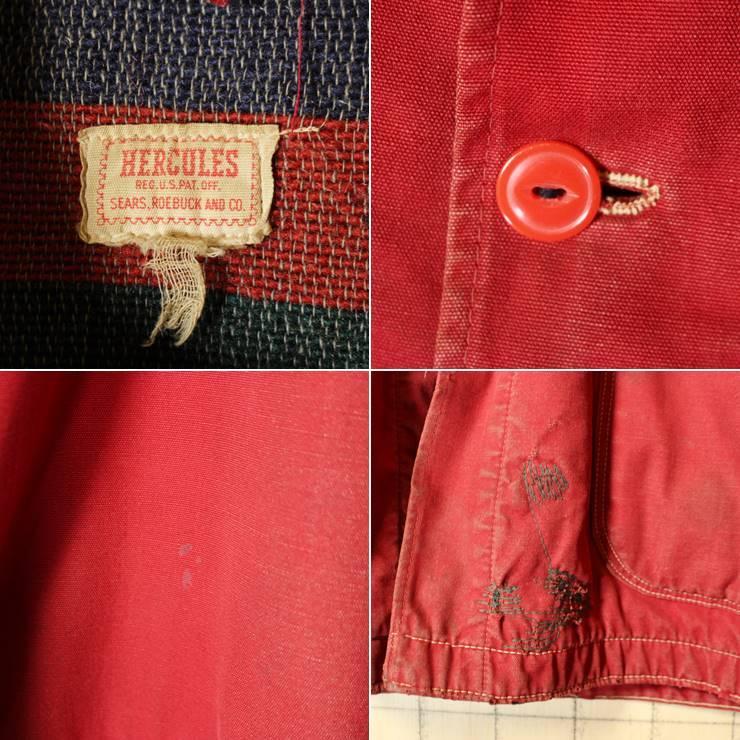 50s-60s USA製 HERCULES レッド カバーオール ワークジャケット メンズXL相当 ヘラクレス sears ブランケットライナー 古着 ハンティング_画像2
