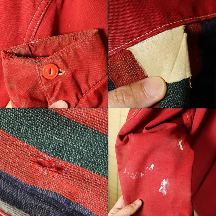 50s-60s USA製 HERCULES レッド カバーオール ワークジャケット メンズXL相当 ヘラクレス sears ブランケットライナー 古着 ハンティング_画像4