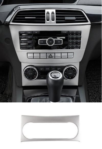 BENZ ベンツ W204 コンソール 中央 オーディオ トリム エアコン カバー パネル アームレス トリム ガーニッシュ シルバー AMGなど 1pc 下_画像1