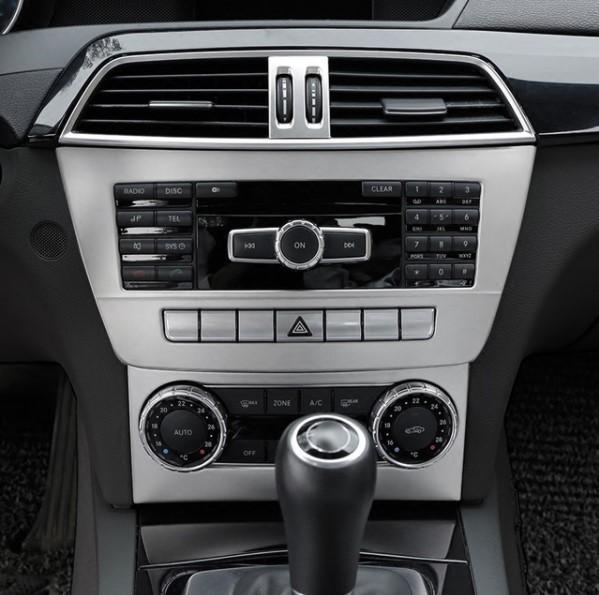 BENZ ベンツ W204 コンソール 中央 オーディオ トリム エアコン カバー パネル アームレス トリム ガーニッシュ シルバー AMGなど 1pc 下_画像2