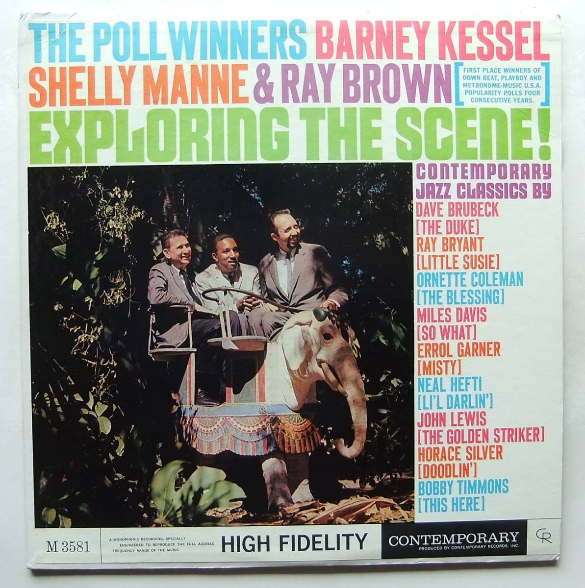 ◆ POLL WINNERS / BARNEY KESSEL, SHELLY MANNE & RAY BROWN / Exploring The Scene ◆ Contemporary M 3581 (yellow:dg) ◆ V_画像1