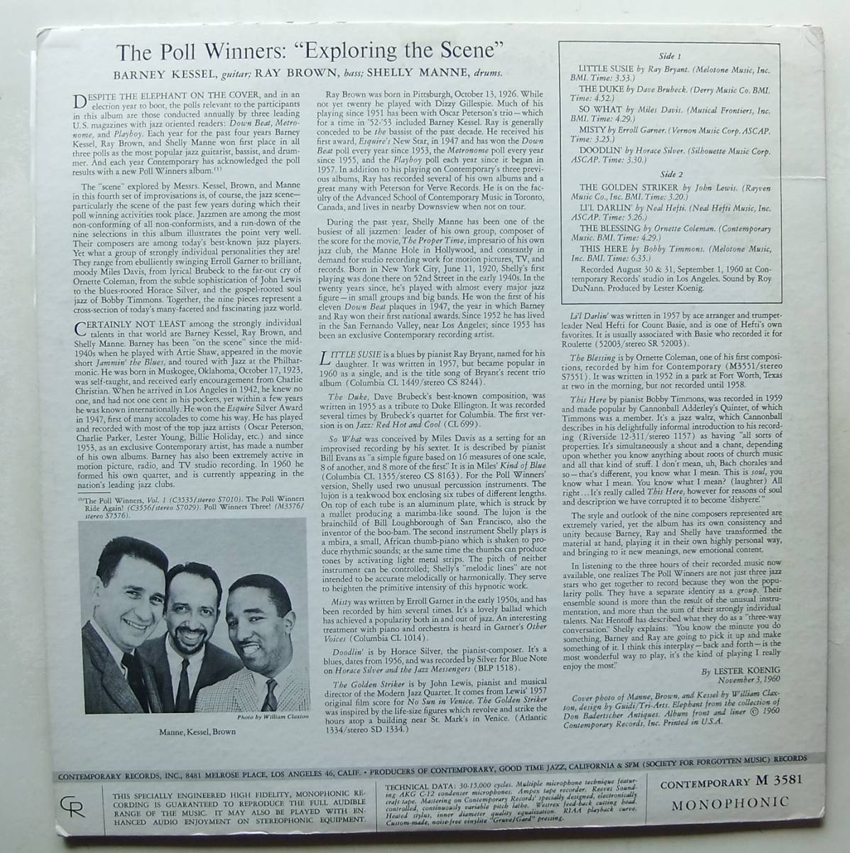 ◆ POLL WINNERS / BARNEY KESSEL, SHELLY MANNE & RAY BROWN / Exploring The Scene ◆ Contemporary M 3581 (yellow:dg) ◆ V_画像2