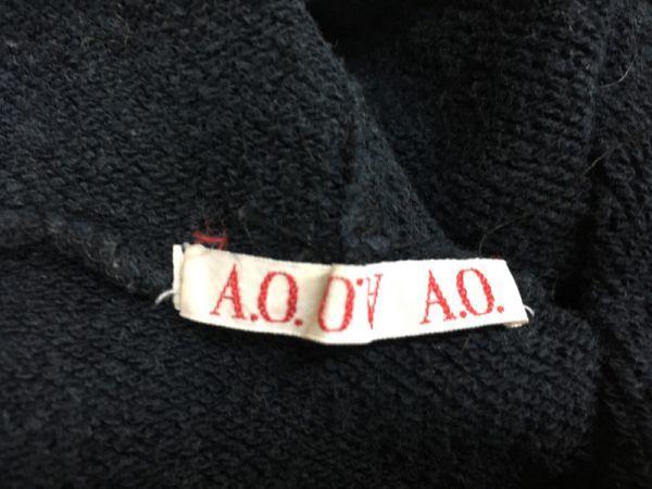 A.O. アツキオオニシ ATSUKI ONISHI 長袖スウェットパーカー レディース 薔薇タグワッペン 味出てる 黒_画像2