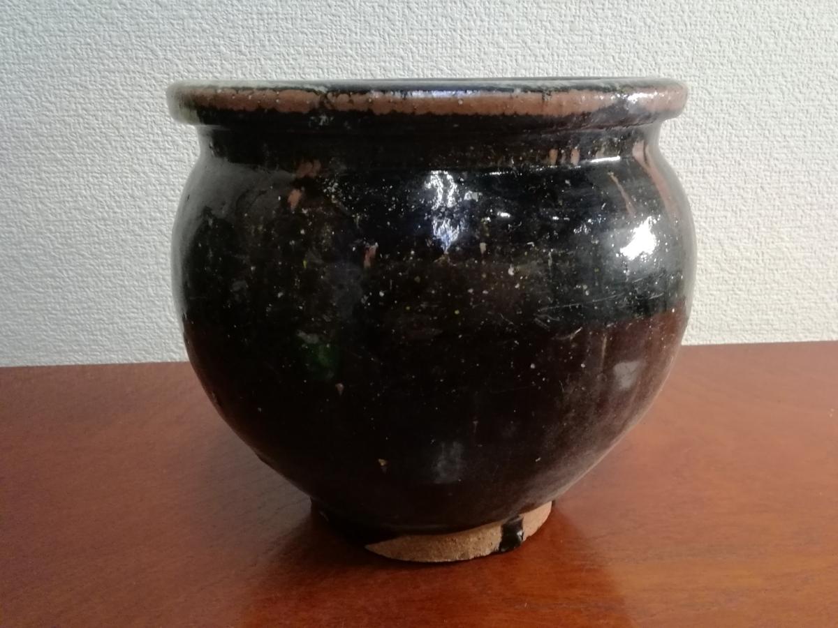 骨董 堤焼き 海鼠釉 めだか鉢 睡蓮鉢 つつみ 仙台堤焼 AM-0313