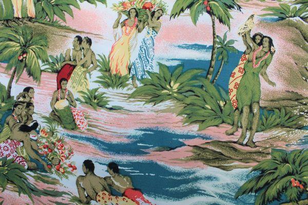 UHL16カメハメハL長袖 アロハシャツ ハワイ製KAMEHAMEHAフラガール カメハメハ大王 フラダンス ココナッツボタンHAWAIIハワイアン_画像4