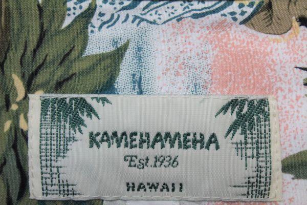 UHL16カメハメハL長袖 アロハシャツ ハワイ製KAMEHAMEHAフラガール カメハメハ大王 フラダンス ココナッツボタンHAWAIIハワイアン_画像5