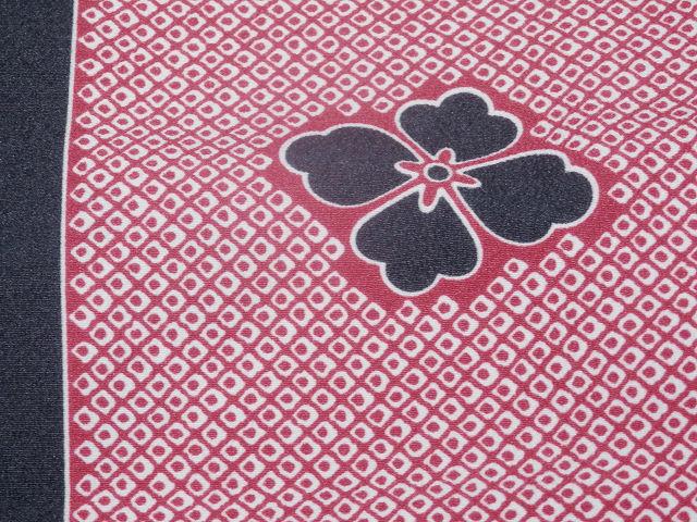 《SAI569》 「化繊」◇洗える小紋◇単衣/コウヤ/鹿の子柄に花菱紋☆良品☆ _画像5