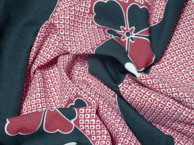 《SAI569》 「化繊」◇洗える小紋◇単衣/コウヤ/鹿の子柄に花菱紋☆良品☆ _画像9