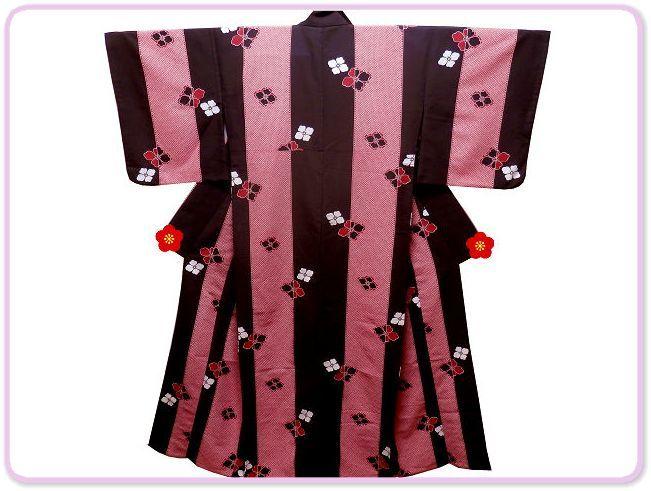 《SAI569》 「化繊」◇洗える小紋◇単衣/コウヤ/鹿の子柄に花菱紋☆良品☆ _画像1